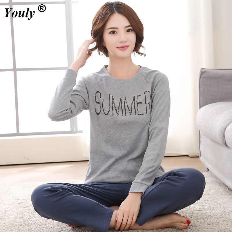 36b4327c36 Plus Size XXXL 2019 Women Pajamas Sets Cotton Nightwear Long Sleeve Pyjamas  O-Neck Sleepwear