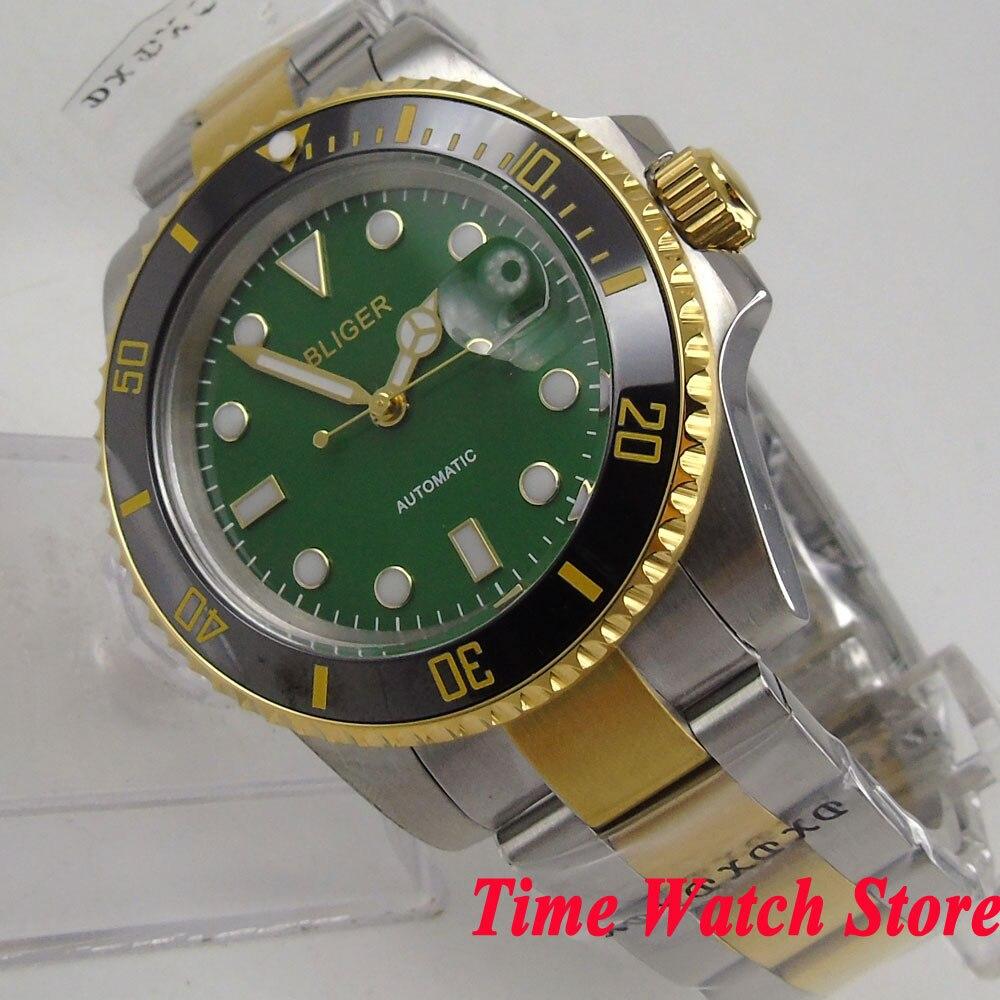 40mm Golden Bliger men's watch green dial luminous saphire glass Ceramic Bezel Automatic movement wrist watch men 143 цена и фото