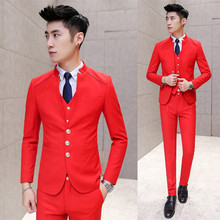 Left ROM (jackets + Vest + Pants ) Upscale Boutique Bridegroom's Best Man Pure Color Stand Collar Men's Suit Man Business Suits