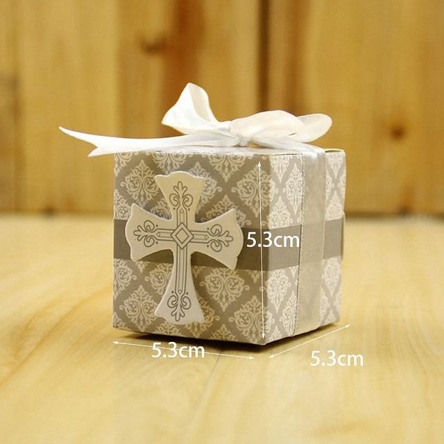 50pcs European Spring Wedding Gifts Boxes White Bow Ribbon Wrap