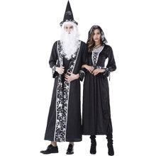 Umorden Purim Carnival Halloween Costumes Skull Wizard Magician Costume for Men Witch Cosplay Women Fancy Robe Gown