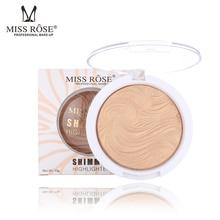 MISS ROSE Brand 12 color Baked Glitter Highlight Powder Oil-Control Face Makeup Highlighter Contour Powder Cosmetics Makeup цена 2017