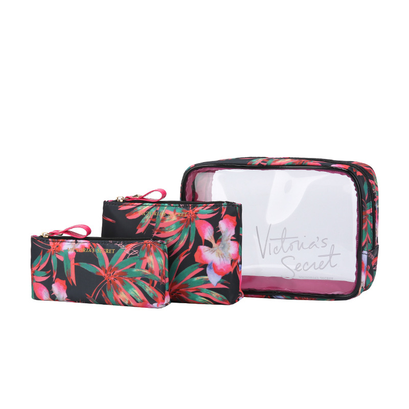 Makeup Bag Comestic Case Packing Cubes Women Travel Bag Hawaii Flower Waterproof PinkCom ...