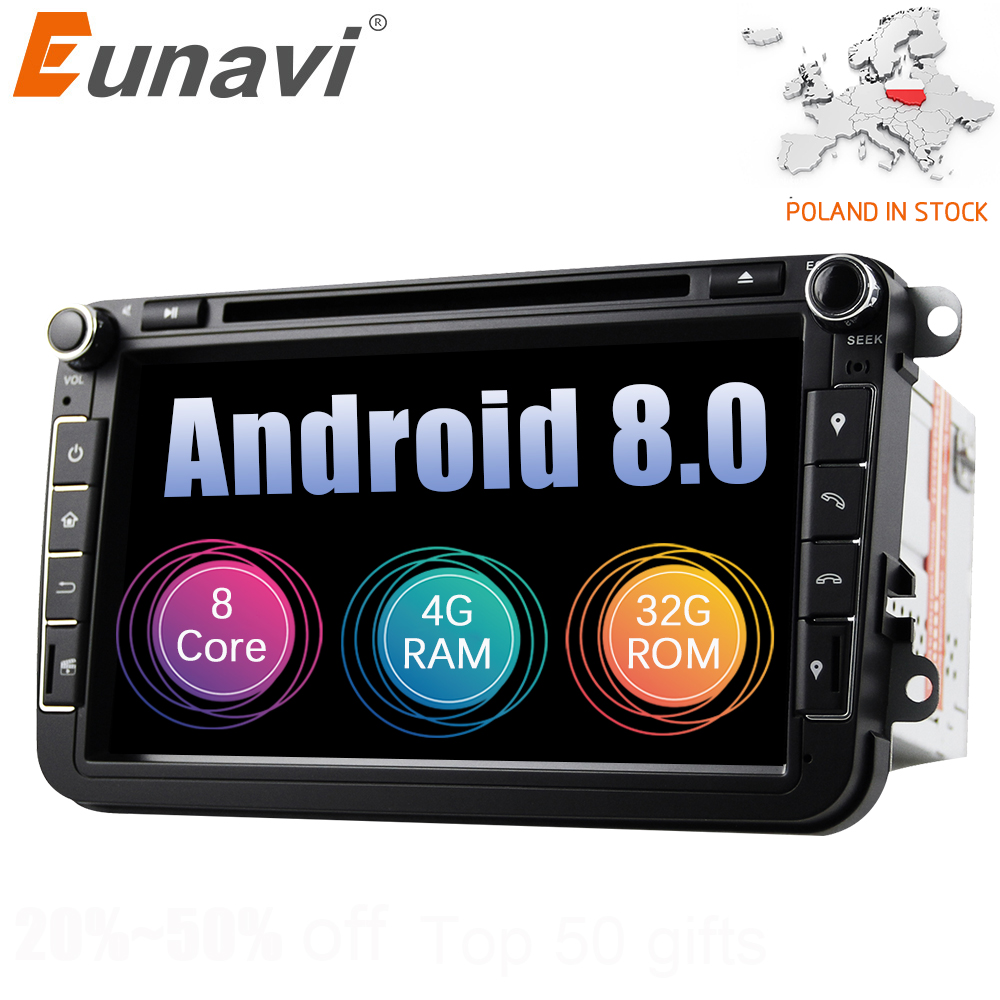 Eunavi Android 8.0 Octa Core 4 GB RAM dvd de voiture Pour VW Passat CC Polo DE GOLF 5 6 Touran EOS T5 sharan Jetta Tiguan radio gps Siège Un