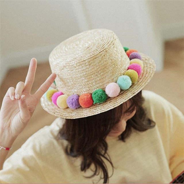 371b42a3141 2017 NEW Kids Girl Summer Pom Pom Visor Sun Straw Hats Handmade Panama Hats  Parent-