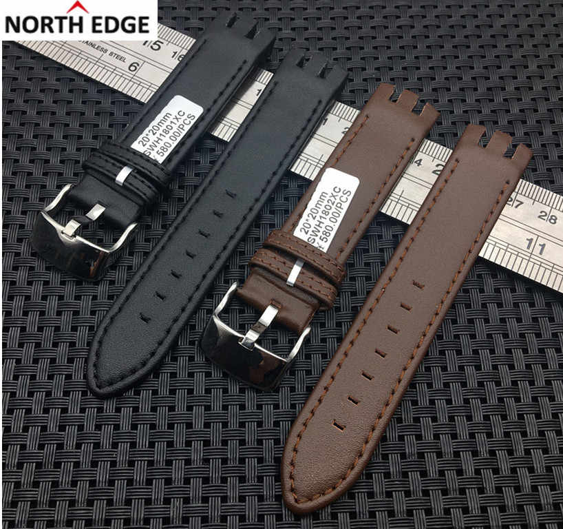 Genuine real Leather Watch strap band Pin Clasp Bracelets for Swatch YTS401 400 404G 407 405 406 YTB400Y Watcheband Accessories