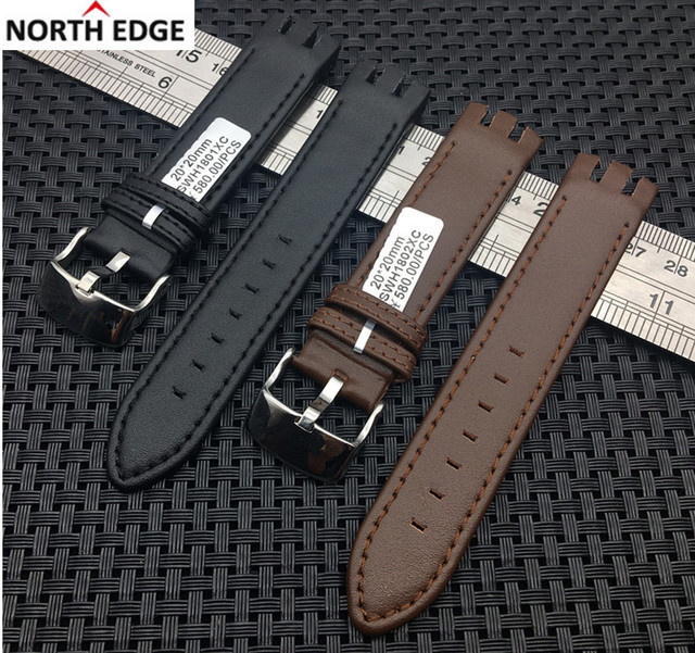 Genuine real Leather Watch strap band Pin Clasp Bracelets for Swatch YTS401 400