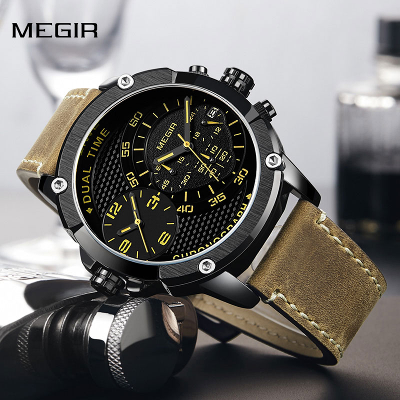Fashion Sport Men Watch MEGIR Army Military Leather Strap Men Quartz Wrist Watch Creative Dual Time Zone Waterproof Watch Clock gift hot crazy selling army leather belt table trend of retro fashion blue big dial quartz watch clock men military sport watch