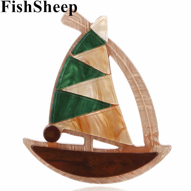 New Fashion Acrylic Sailboat Brooches Pin Vintage Large Resin Sailing Boat Ship Lapel Pins Badges Gifts for Women Jewelry