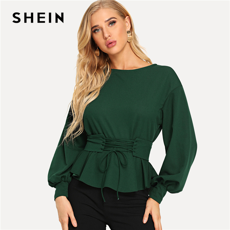 f14b2614613 SHEIN Green Lantern Sleeve Top with Corset Belt Elegant Lace Up Boat Neck  Blouses Women Long Sleeve Plain Autumn Tops-in Blouses   Shirts from Women s  ...