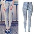 Owlprincess 2016 Femme Mujeres Skinny Jeans Leggings Cintura Alta Stretch Denim Jegging Pantalones Con Cremallera Frontal Botones Lápiz Pantalones