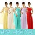Xxl longo sem mangas damas de honra formais até o chão vestido da dama de honra de um ombro vestidos de dama de lilás amarelo B2694