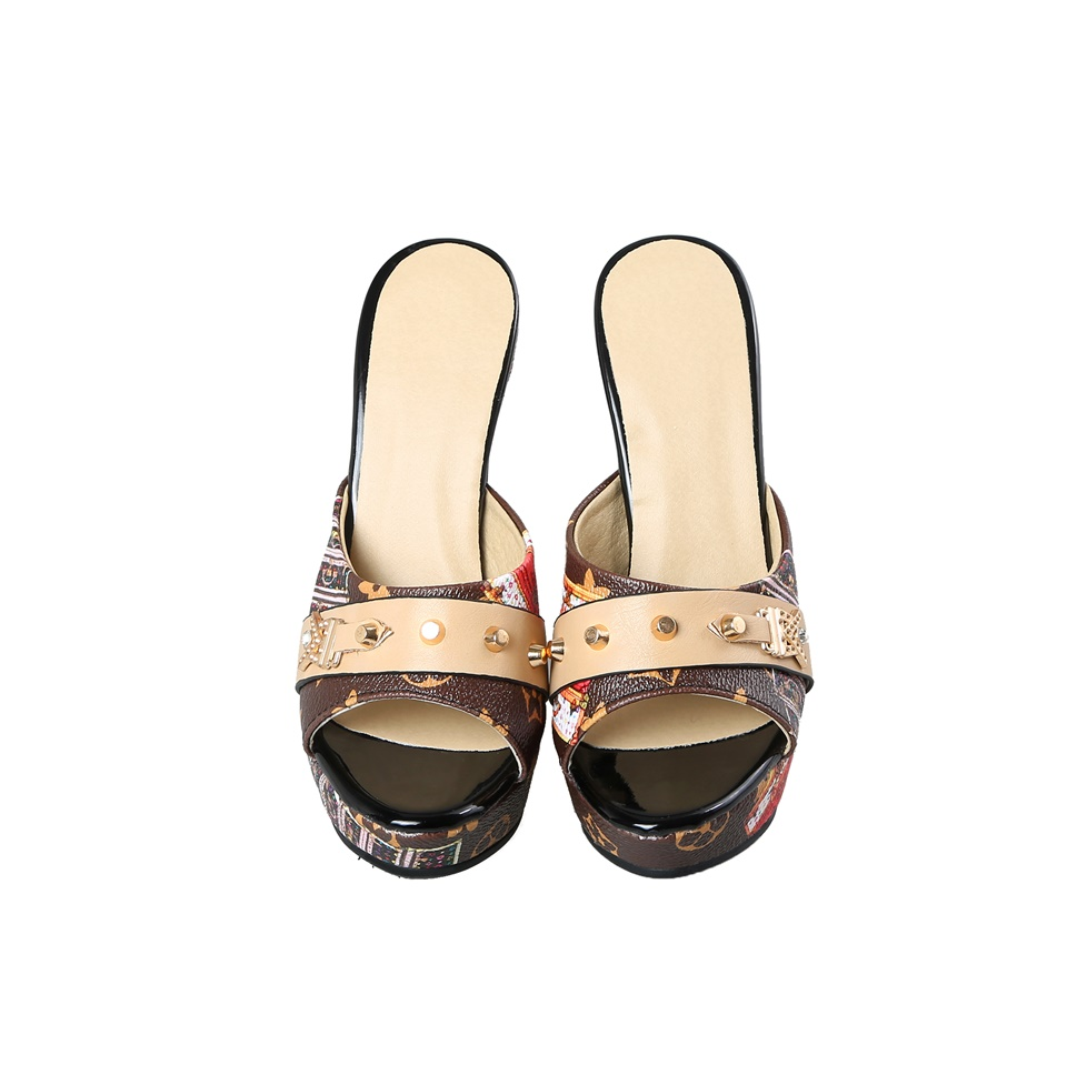 Summer Women Slipper Sandals 12 CM Heels Wedges Open toe Elegant Female Sandals Ladies Mules Shoes Women Size 33 43 in Slippers from Shoes