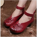 Woman Pump Thick High Heel  thick mother for women's shoes round Toe shallow mouth work shoes red leather shoes with cowhide