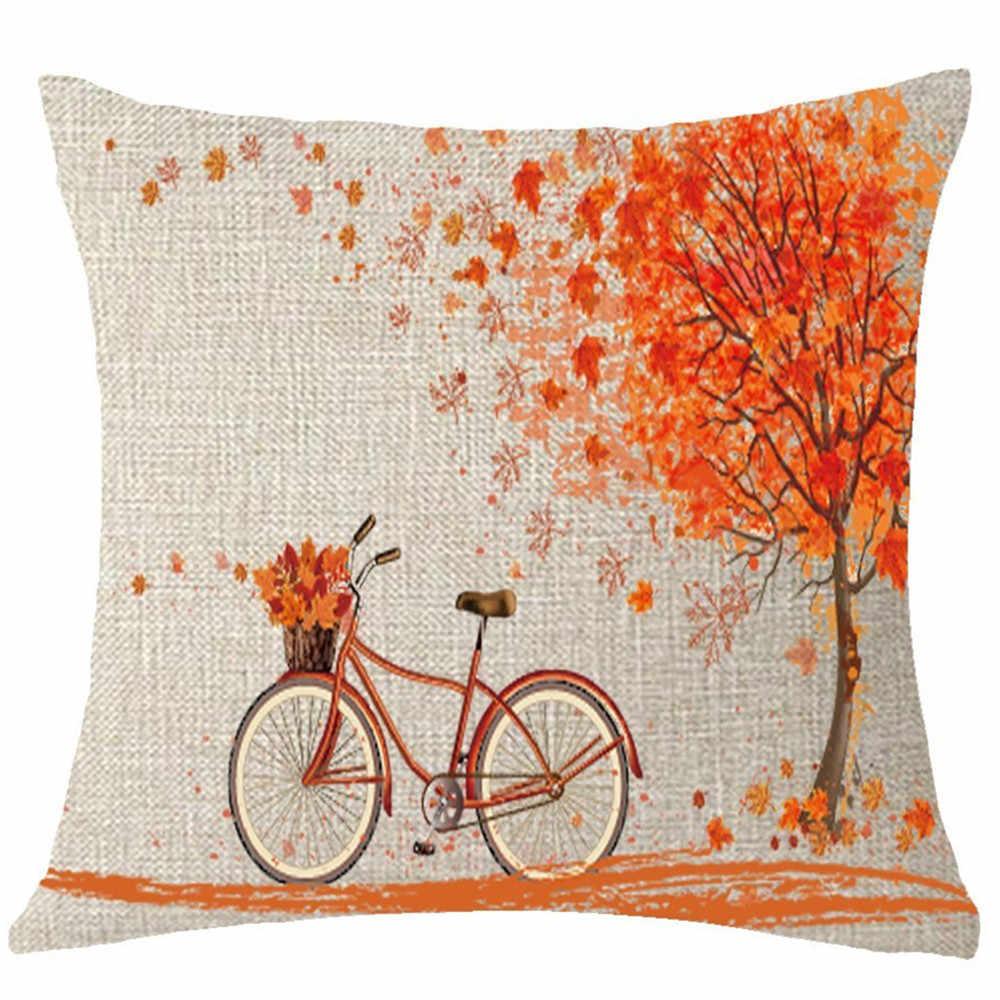 ハッピー秋木メープルリーフ自転車枕カバー 18*18 インチレトロオレンジ木パターンクッションケースリネン pillowslip 飾り