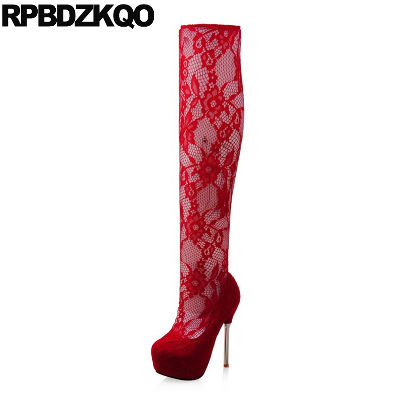 Red Crotch High Platform Slim Big Size Lace Sexy Metal Heel Boots Cut Out Extreme Over The Knee Fetish Women 14cm Dance Pole cut out knee leggings
