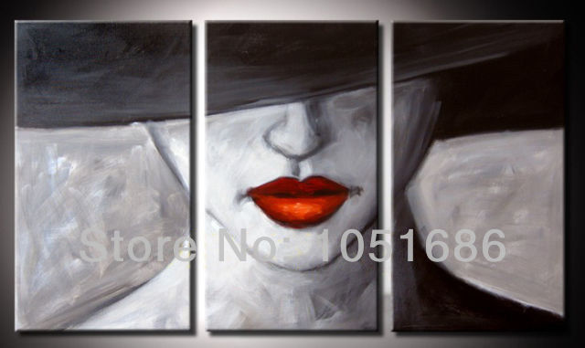 3 Piece Large Wall Art Sets Hand Painted Sexy Woman Face -2151