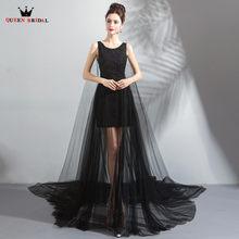 66a403195ba4 A-line Vedere Attraverso Tulle Pizzo Colore Nero Sexy di Lusso Lungo Abiti  da sera 2018 Nuovo Partito Evening Gown Robe De Soire.