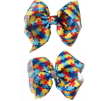 70pcs DHL Free shipping  6inch Autism Awareness Hair Bow Autism Awareness Puzzle Piece Hair Bow Twisted Hair clip