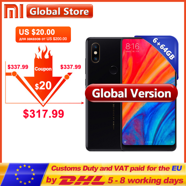 "Global Version Xiaomi Mi MIX 2S 6GB RAM 64GB ROM Mobile Phone Snapdragon 845 Octa Core 3400mAh 5.99"" Full Screen Display 12.0MP"