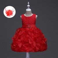 Pluizige Bloem Baby Cupcake Feestjurk voor 1 2 Jaar baby Baby Meisje Kralen Roze Wit Blauw Lavendel Rode Bruiloft Gown