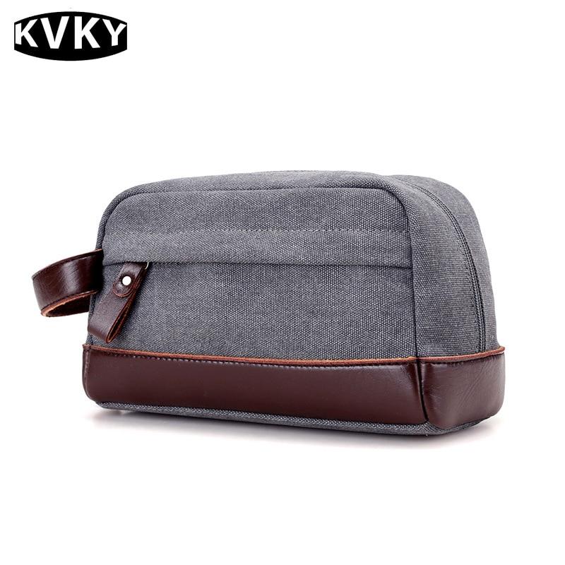 KVKY Canvas Clutch Bag Men Casual Mini Bags Male Money Pocket Vintage Men Leather Handbag Canvas Toiletry Bags Wrist Bag WH529 casual canvas satchel men sling bag