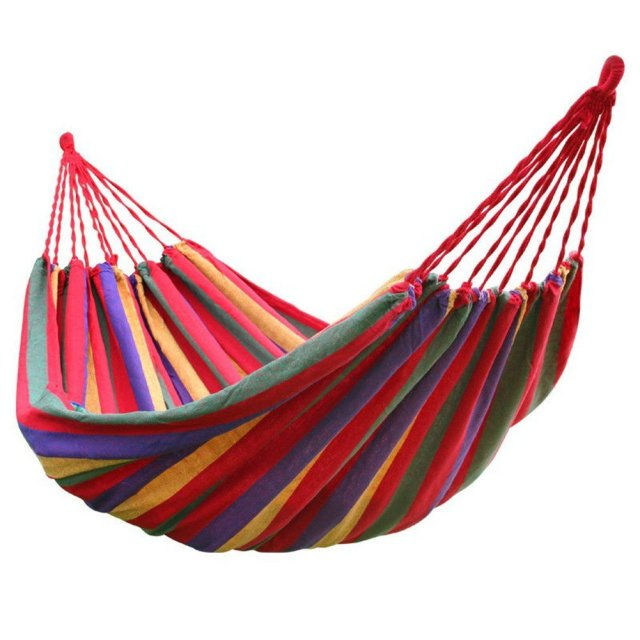 Hot Sale rainbow Outdoor Leisure Double collapsible  canvas Hammocks Ultralight Camping Hammock with backpack