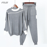 FTLZZ Women Pullovers Knitted Sweaters Pants Track 2pcs Sets Casual Knitted Trousers + Jumper Tops Clothing Suits Vestidos
