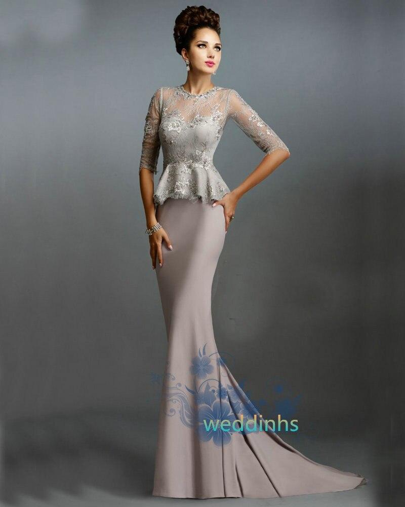 2016 Lace Mermaid Mother Of The Bride Dresses Groom: Aliexpress.com : Buy Half Sleeves Sheer Long Mermaid