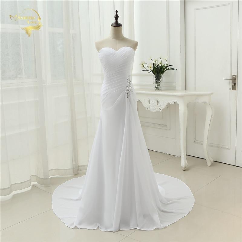 2019 Naujas atvykimas Vestido De Noiva Robe De Mariage Nuotakos suknelė Mermaid Trumpet Sifono vestuvių suknelės Plius dydis YN 9532
