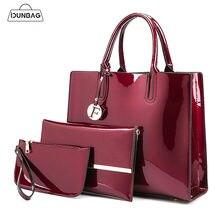19218ab39f18 3 комплекта высокое качество лакированная кожа женские сумки Роскошные бренды  Сумка + женская сумка на плечо