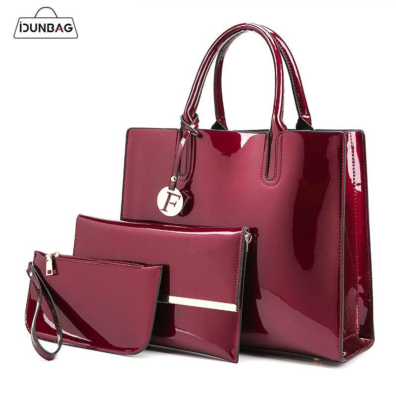 3 Sets Hohe Qualität Patent Leder Frauen Handtaschen Luxus Marken Tote Tasche + Damen Schulter Tasche + Kupplung Umhängetasche bolsa Feminina