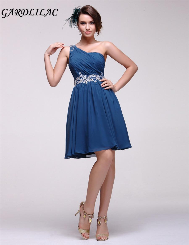 outlet store 8aea6 a9f63 US $89.0 |2017 blu scuro senza maniche one spalla breve vestito da sera  immagine reale dell'abito di sfera del vestito per la promenade vestiti da  ...