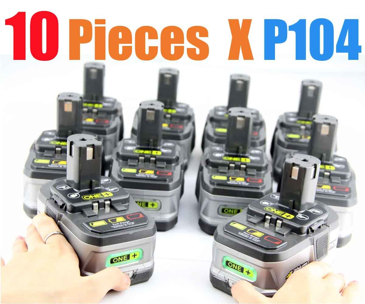 10 Packs Ryobi 18volt Lithium Battery One Rechargeable 2400mah For P104 Cordless Tools