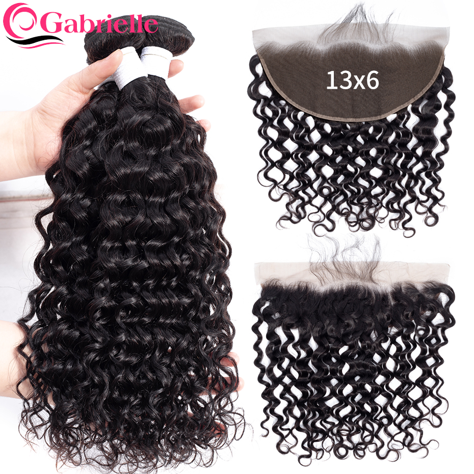 Gabrielle Water Wave Bundles with Frontal 100 Human Hair 13x6 Lace Frontal with Bundles Brazilian Hair