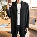 Men Long Cotton Linen Trench Jacket Male Solid Color Lapel Cardigan Coat Spring Autumn Thin Trench Outwear