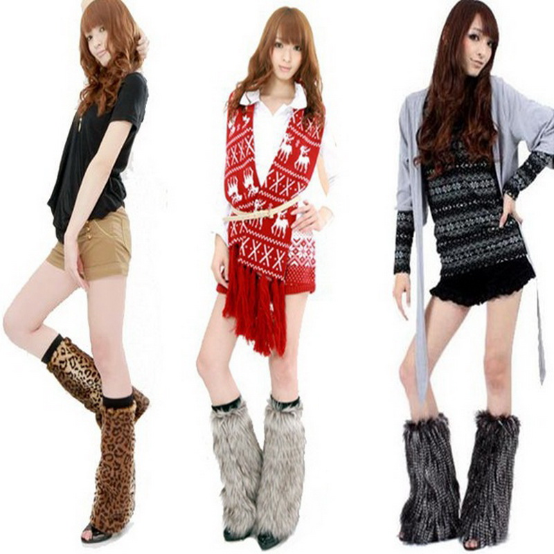 Fashion Women Winter Faux Fur Trims Leg Warmers Cuffs Toppers Boot Shoes Covers Ankle Sleeve Muffs Plush Leg Ring