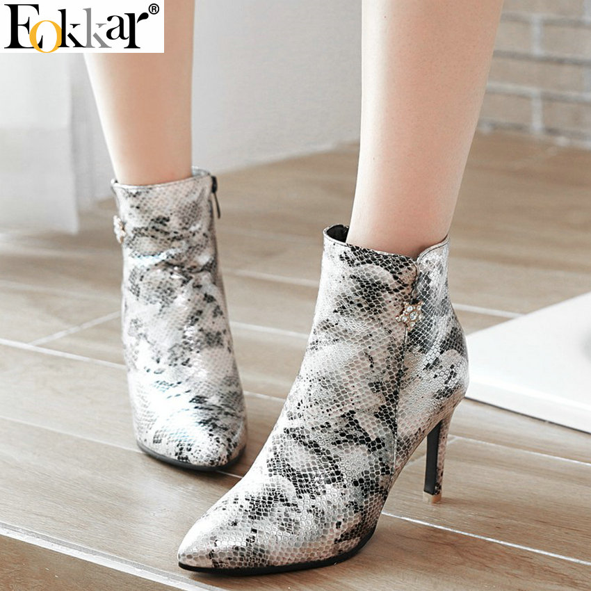 Eokkar 2020 Women Ankle Boots Super Thin High Heel Pointed Toe Animal Print Winter Boots Zipper Warm Ladies Boots Size 34 43