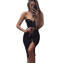 Новые пикантные с открытыми плечами трикотажное платье без бретелек на молнии Bodycon платье Женский Тонкий колен партия Wrap платья для женщин