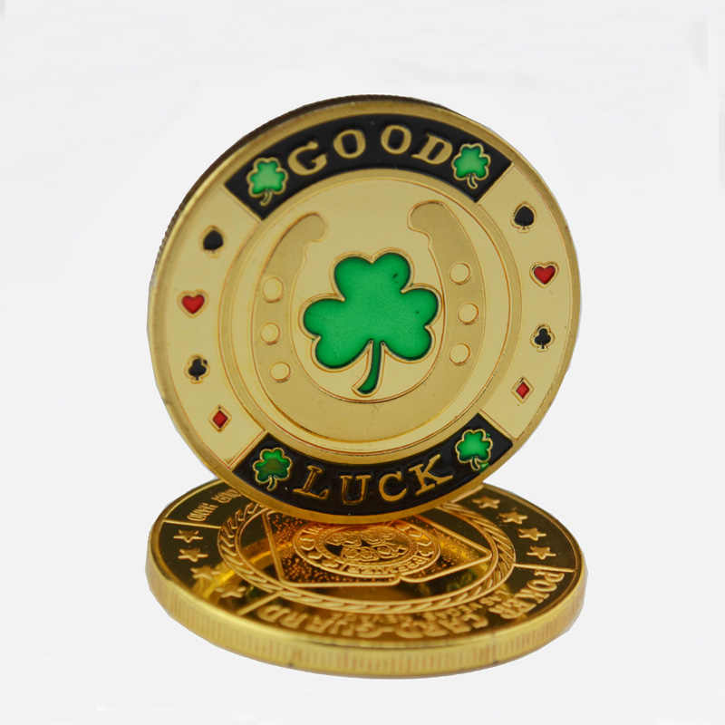 High Quality Metal Poker Chips Casino Card Guard Protector For Gambling Entertainment  With Plastic Cover Good Luck