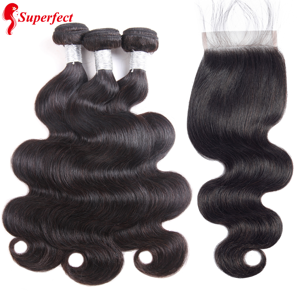Superfect Body Wave Bundles With Closure Brazilian Hair Weave Bundles And Closure 100 Remy Human Hair