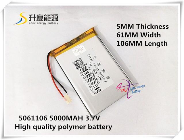 3.7 V 5000 mAH 5061106 bateria de polímero de iões de lítio/bateria Li-ion para BANCO DE POTÊNCIA tablet pc MP3 mp4 falante DVD DVR CARRO