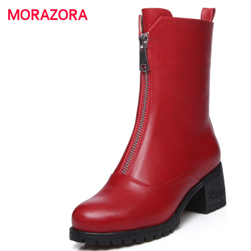 MORAZORA 2018 new round toe genuine leather boots fashion autumn winter high heel women boots zipper square heel ankle boots round toe flat heel zipper ankle boots