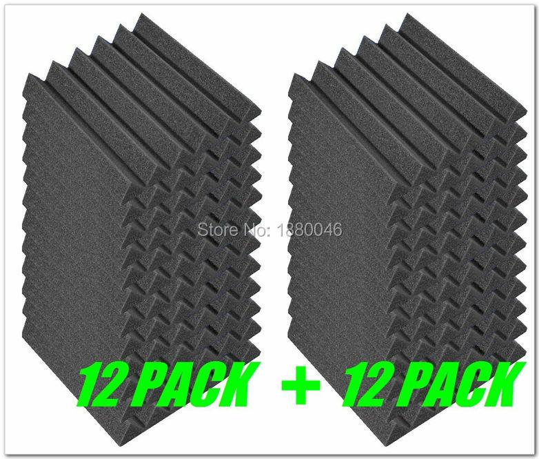 new 24pieces black color 30305cm acoustic wedge studio foam wall tiles