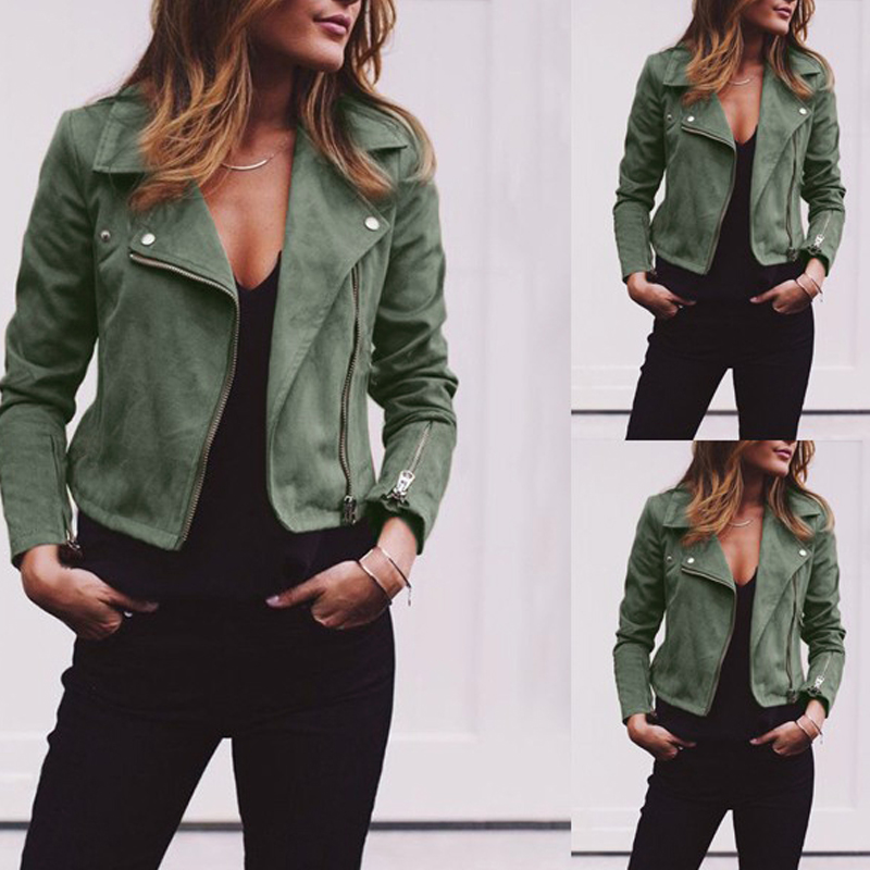 Coat women Ladies Suede Leather Jackets Zip Up Biker Female Casual Coats Woman Flight Coat 5