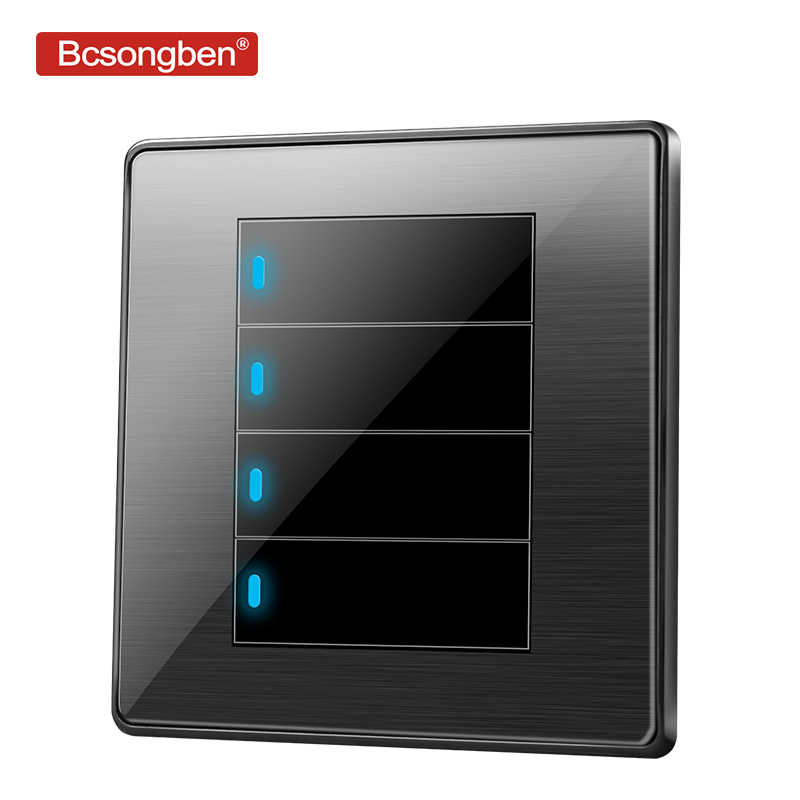 Bcsongben standard switch push button light switch wall Black stainless steel acrylic 4 Gang 2 Way Switch AC 110-250V kd1-4k2