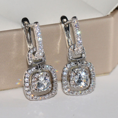 Romantic Silver Color Dazzling AAA CZ Zircon Earrings Square Geometric Drop Earrings For Women Wedding Jewelry Wholesale Brincos