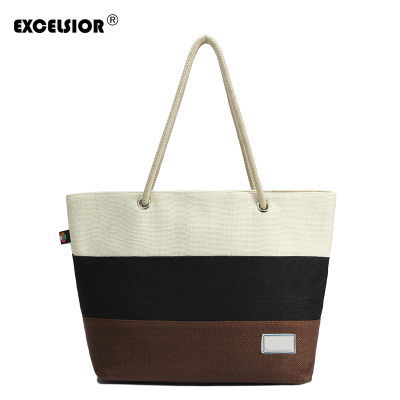 EXCELSIOR Casual Women Wide stripes Large Capacity Tote Canvas Shoulder Handbag Shopping Bag Beach Bags Casual Tote Feminina excelsior women denim tote bag casual blue fabric plain jean top handle teenager slouch shopping shoulder crossbody bag eco