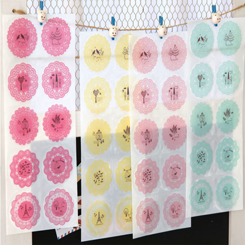 Kawaii Lace Dress Up Stickers Round Transparent Fashion Multi Designs Mobile Cups Decoration Sticky Letter Everlop Seal Stickers