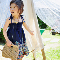 New Fashion Girls Suspender Skirt Cotton Floral Printing Summer Kids Skirt Children Clothing 4 14 Years